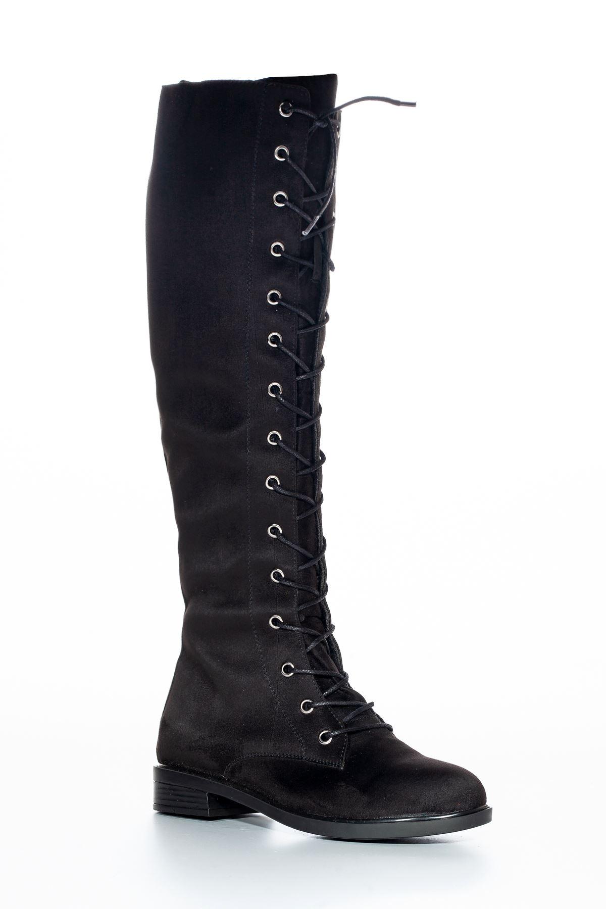 Roza Süet Çizme Siyah