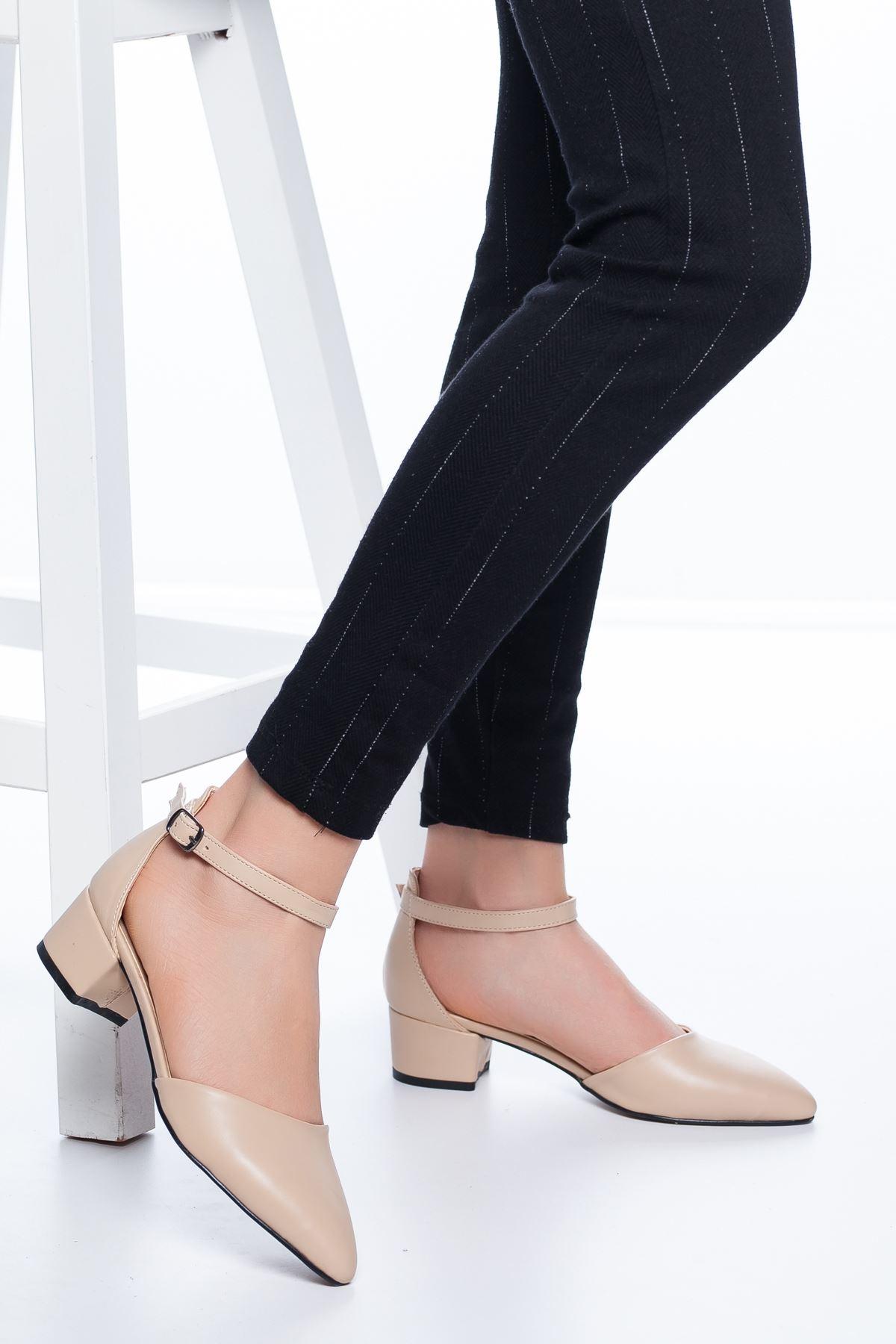 Dulgina Topuklu Cilt Ayakkabı Ten