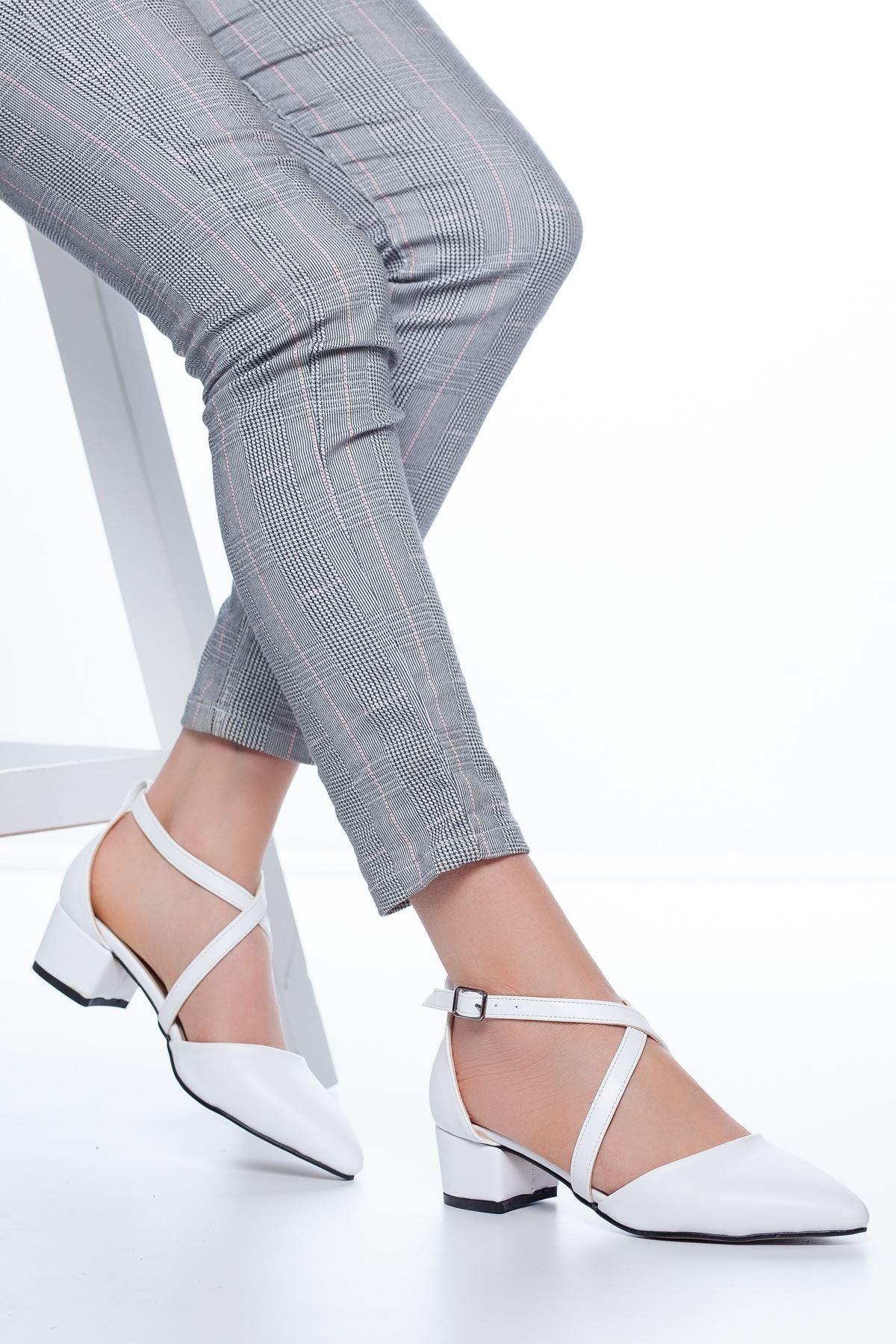 Lexon Topuklu Cilt Ayakkabı Beyaz