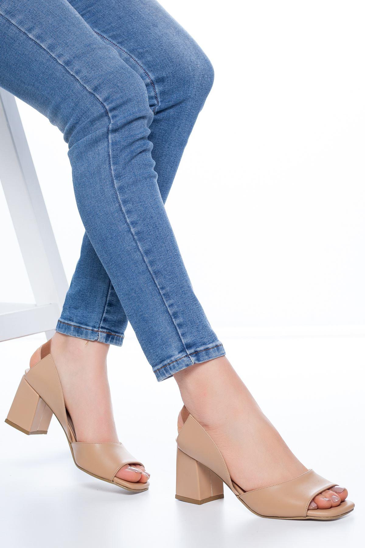 Lessia Topuklu Cilt Ayakkabı Ten