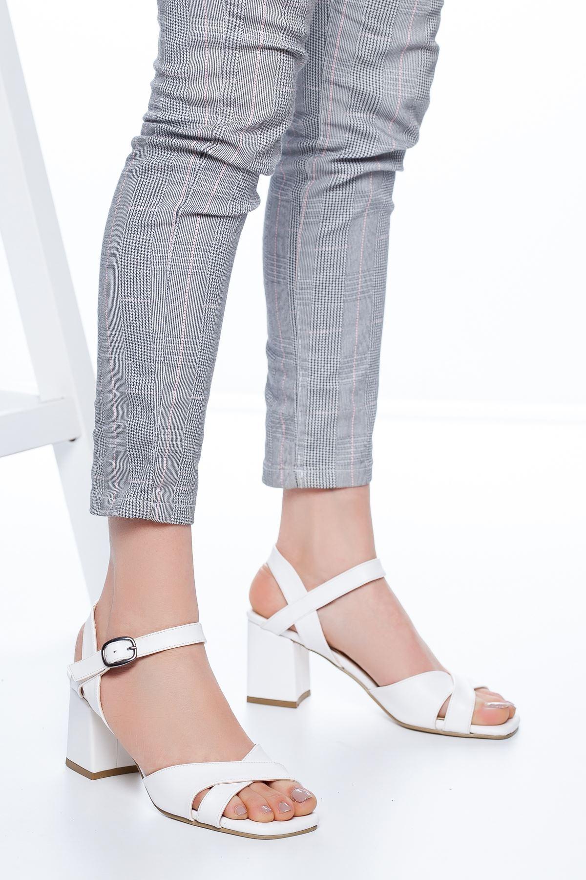 Samy Topuklu Cilt Ayakkabı Beyaz