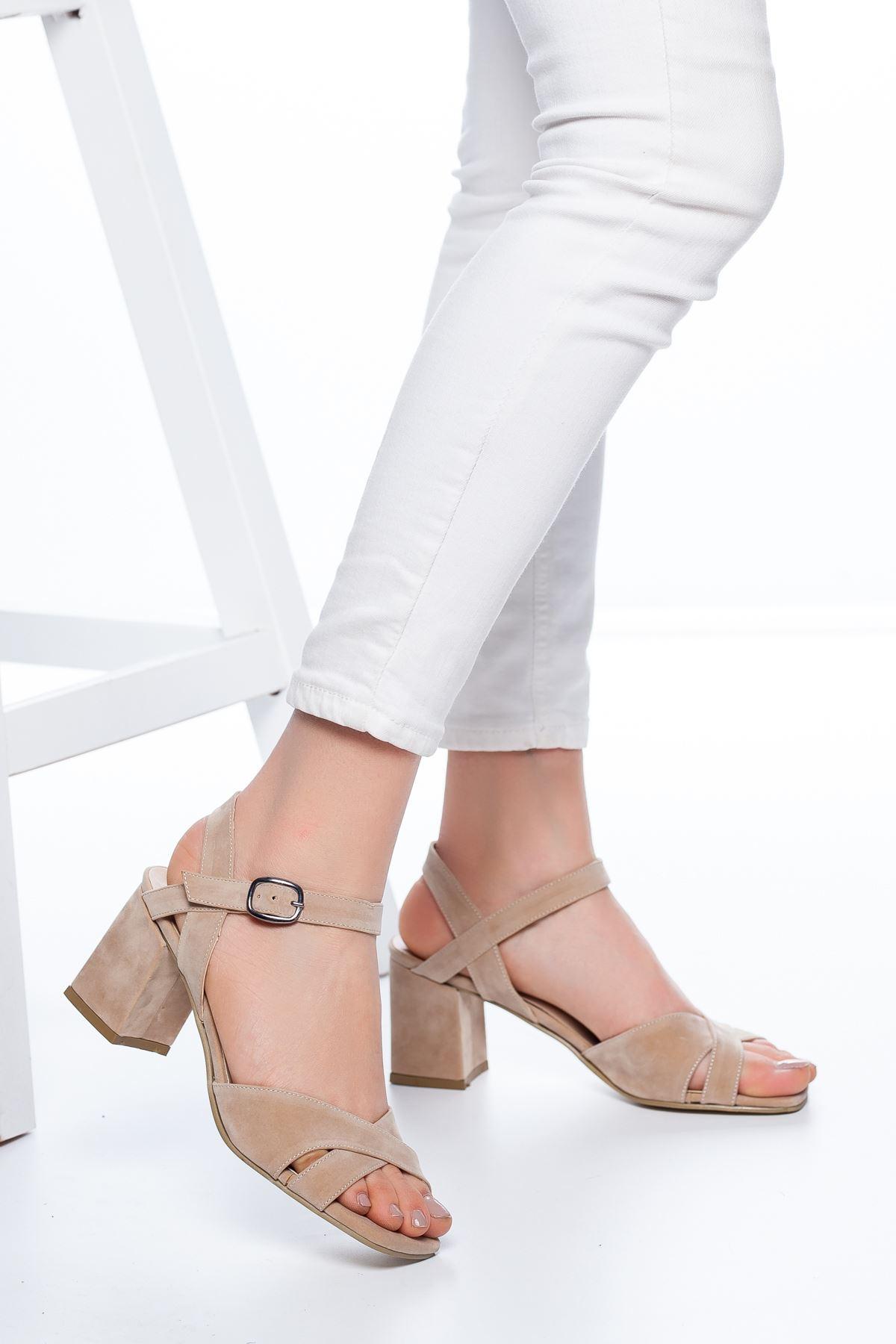 Samy Topuklu Süet Ayakkabı Ten