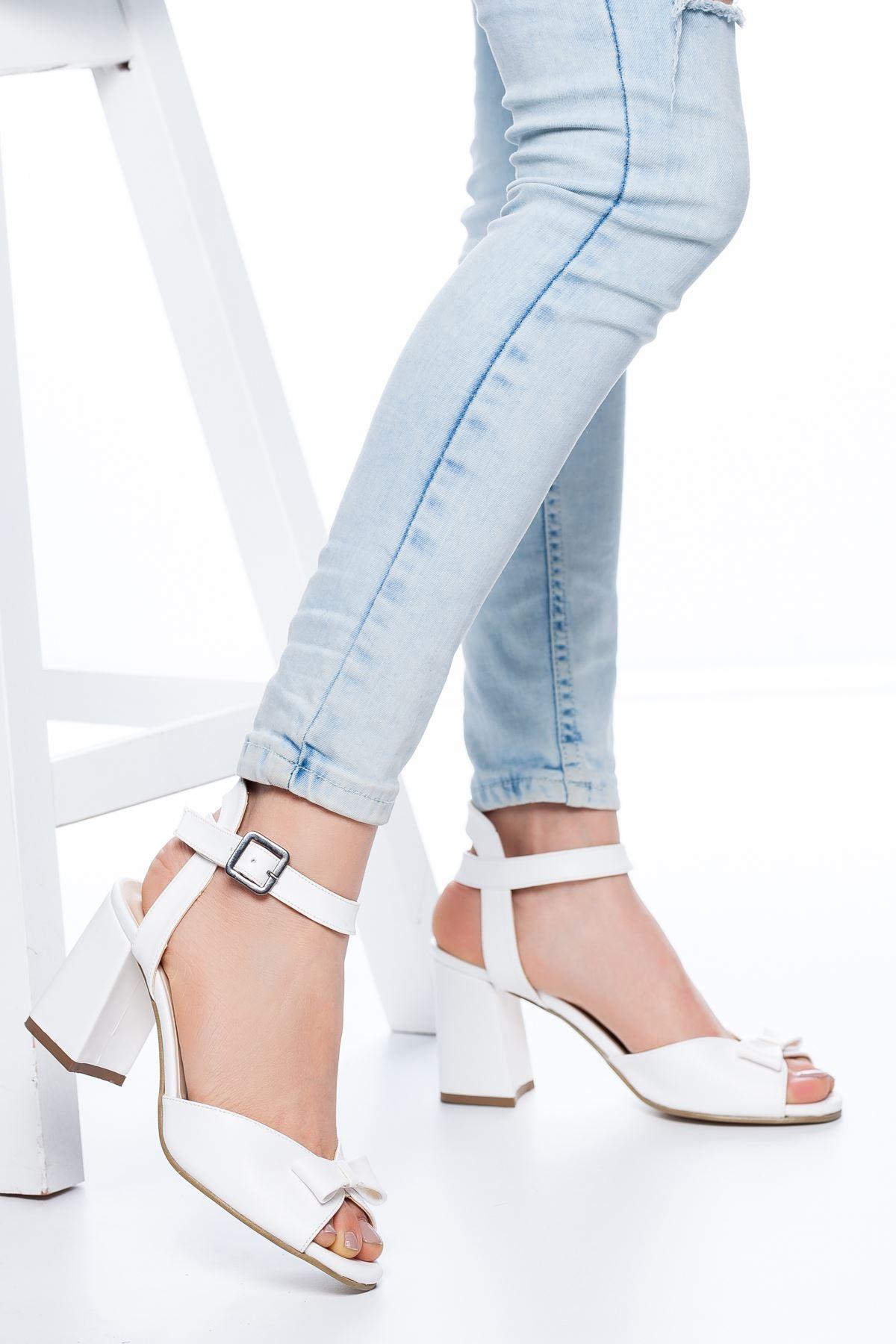 Deborah Topuklu Cilt Ayakkabı Beyaz