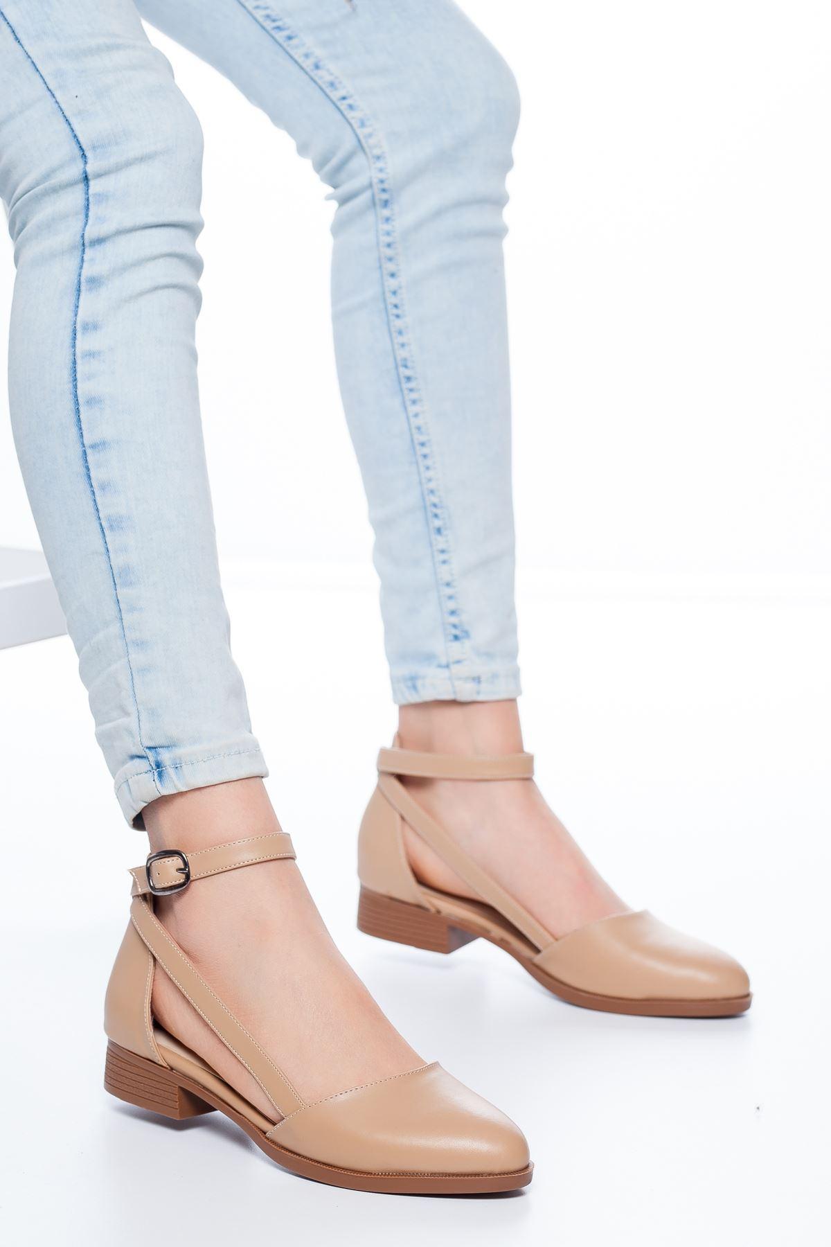 Rayna Kısa Topuk  Cilt Ayakkabı Ten