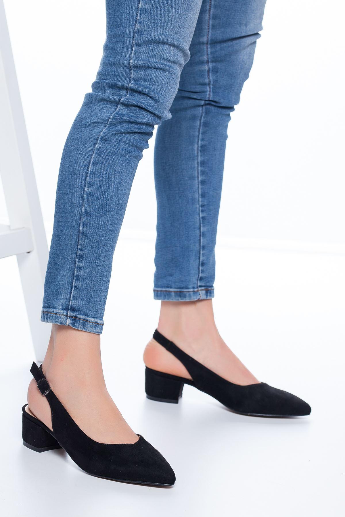 Adesa Topuklu Süet Ayakkabı Siyah