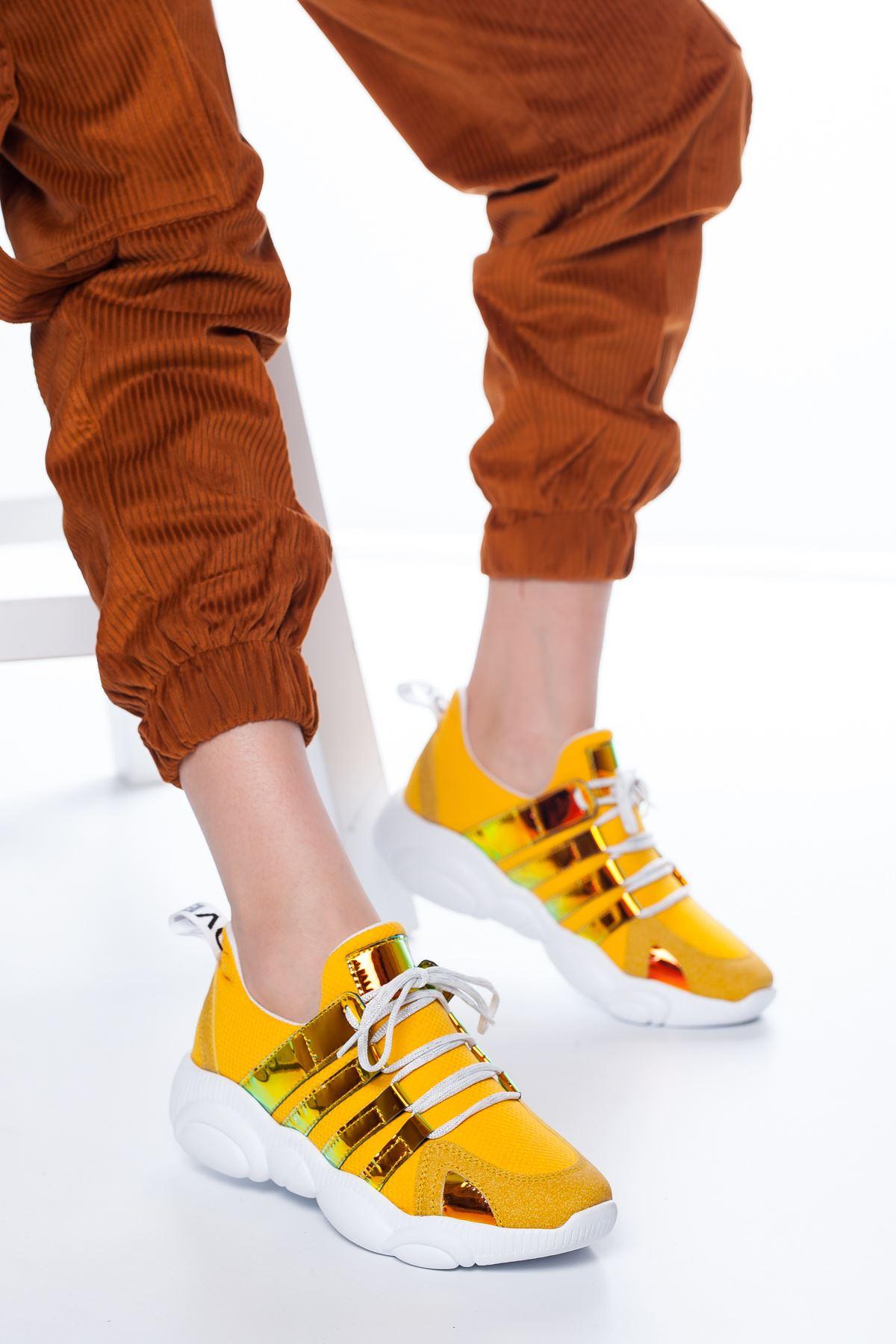 Teddy Neon Şerit Detaylı Spor Sarı
