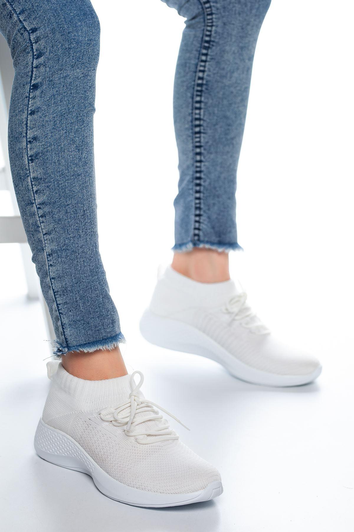 Noya Bağcıklı Çorap Spor Beyaz