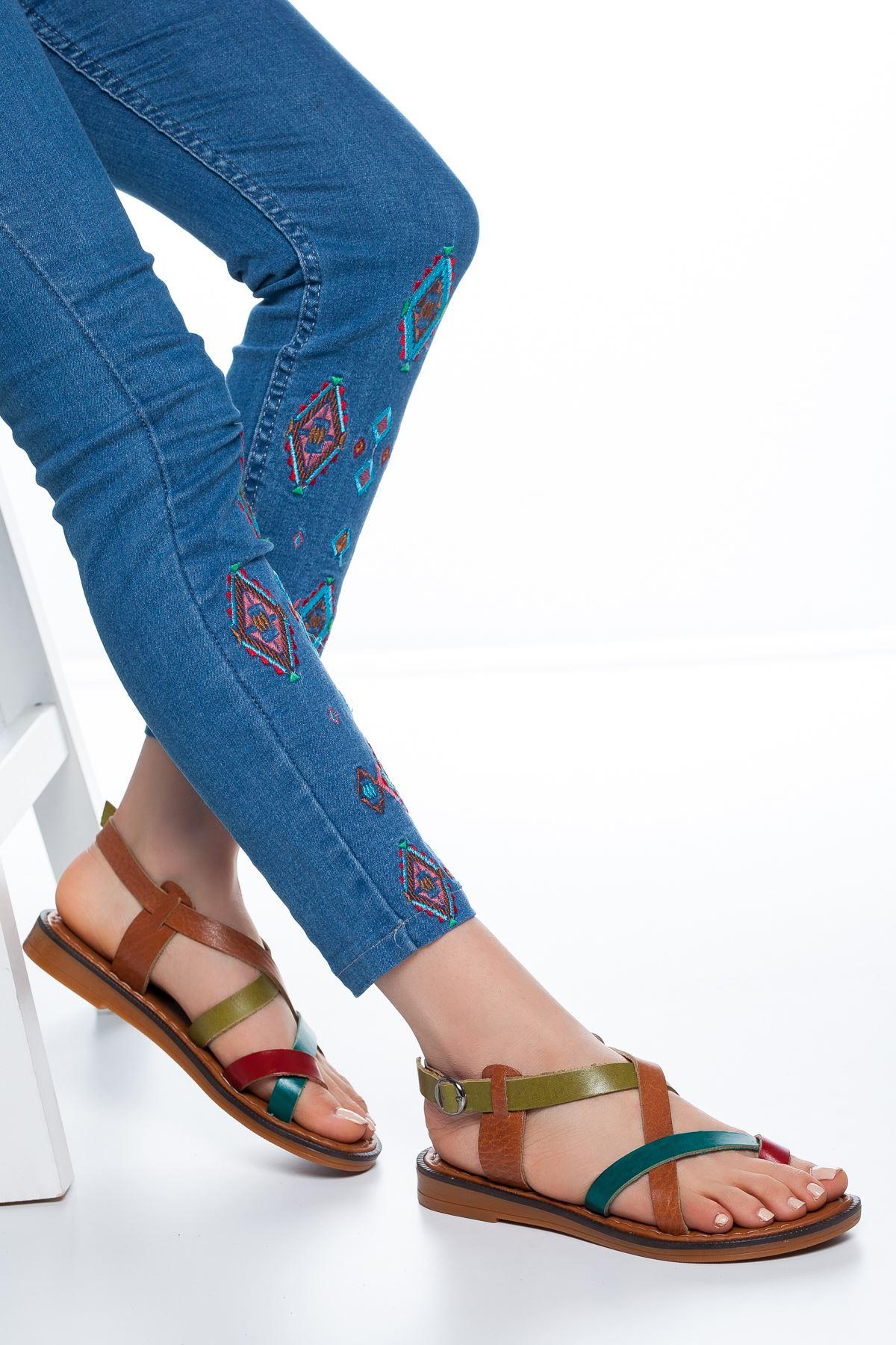 Elsa Deri Parmak Arası Sandalet Multi