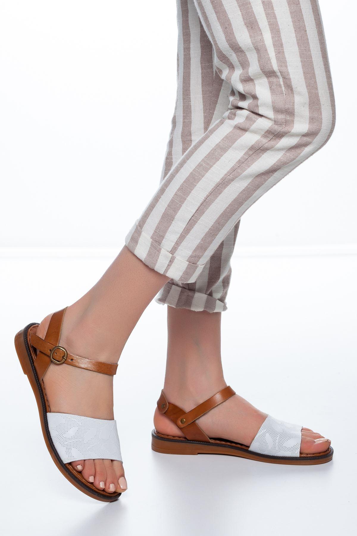 Enya Deri Sandalet Beyaz
