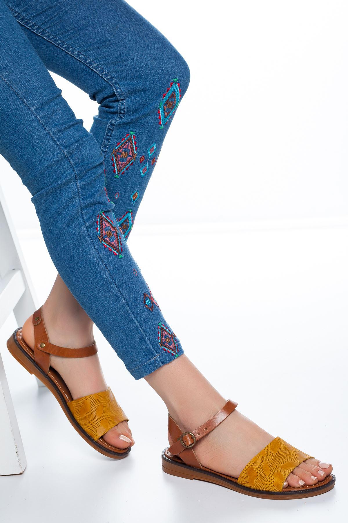Enya Deri Sandalet Hardal