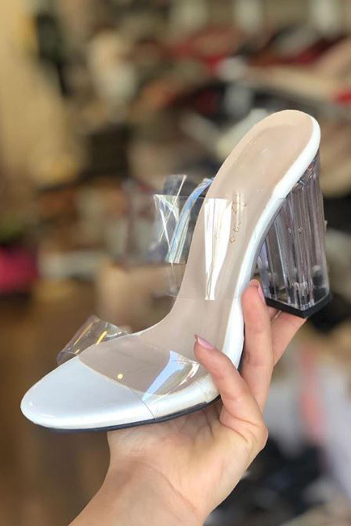 Felis Şeffaf Bantlı topuklu ayakkabı Beyaz