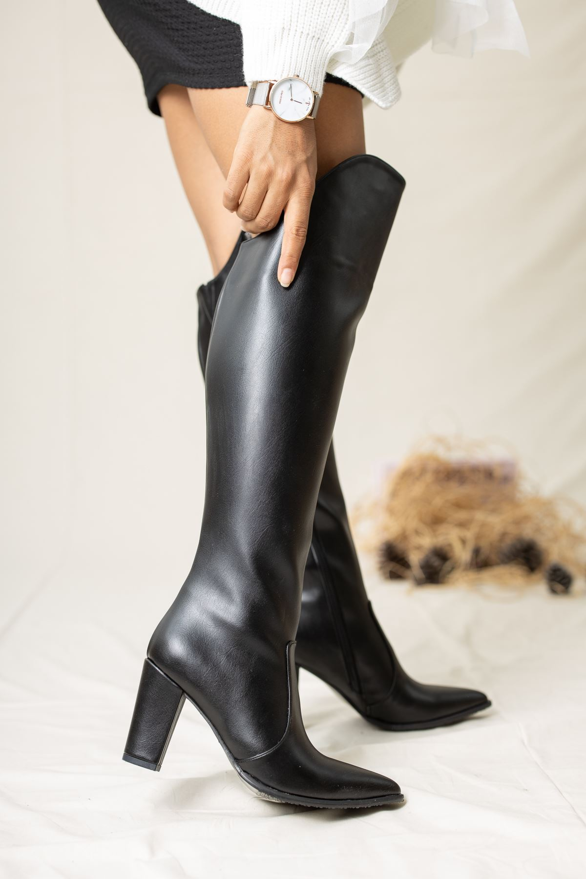 Suvla Deri Çizme Siyah