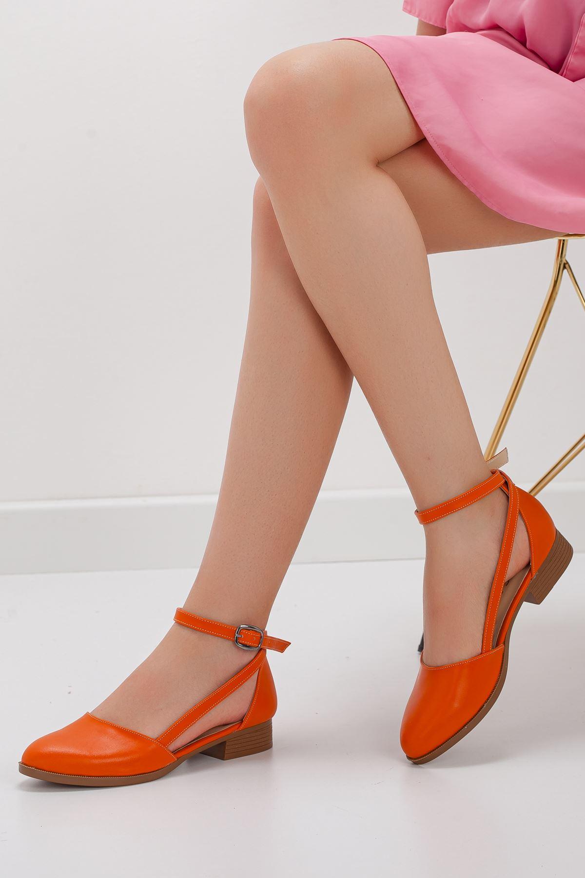 Rayna Kısa Topuk  Cilt Ayakkabı Turuncu