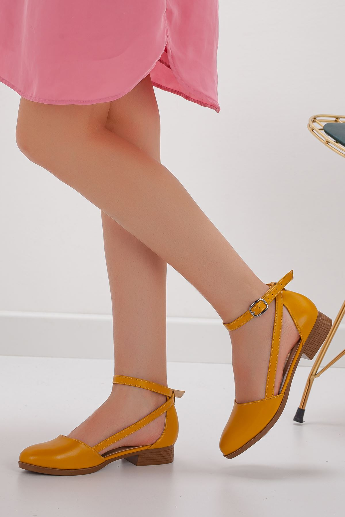 Rayna Kısa Topuk  Cilt Ayakkabı Hardal