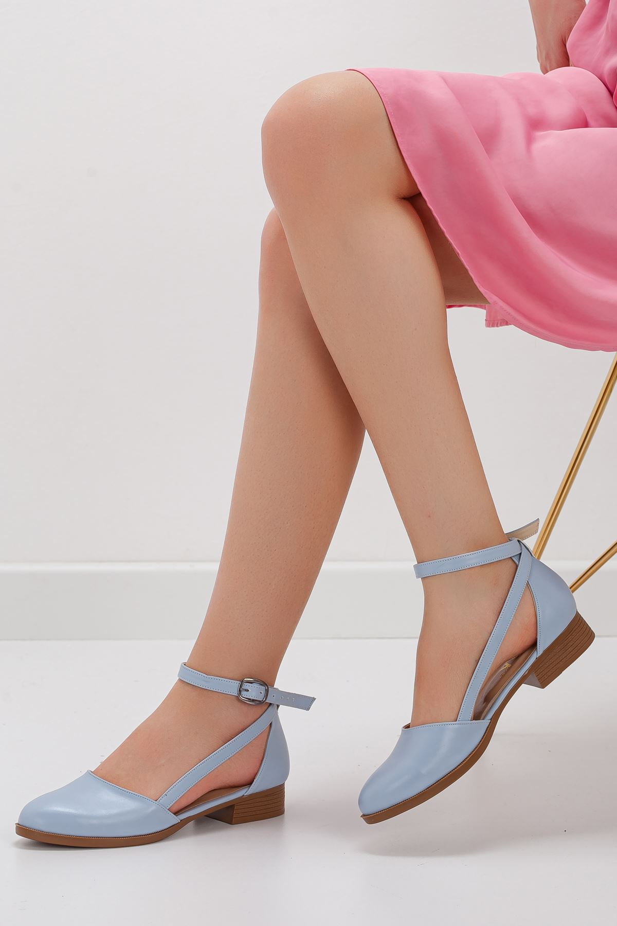 Rayna Kısa Topuk  Cilt Ayakkabı Bebe Mavisi