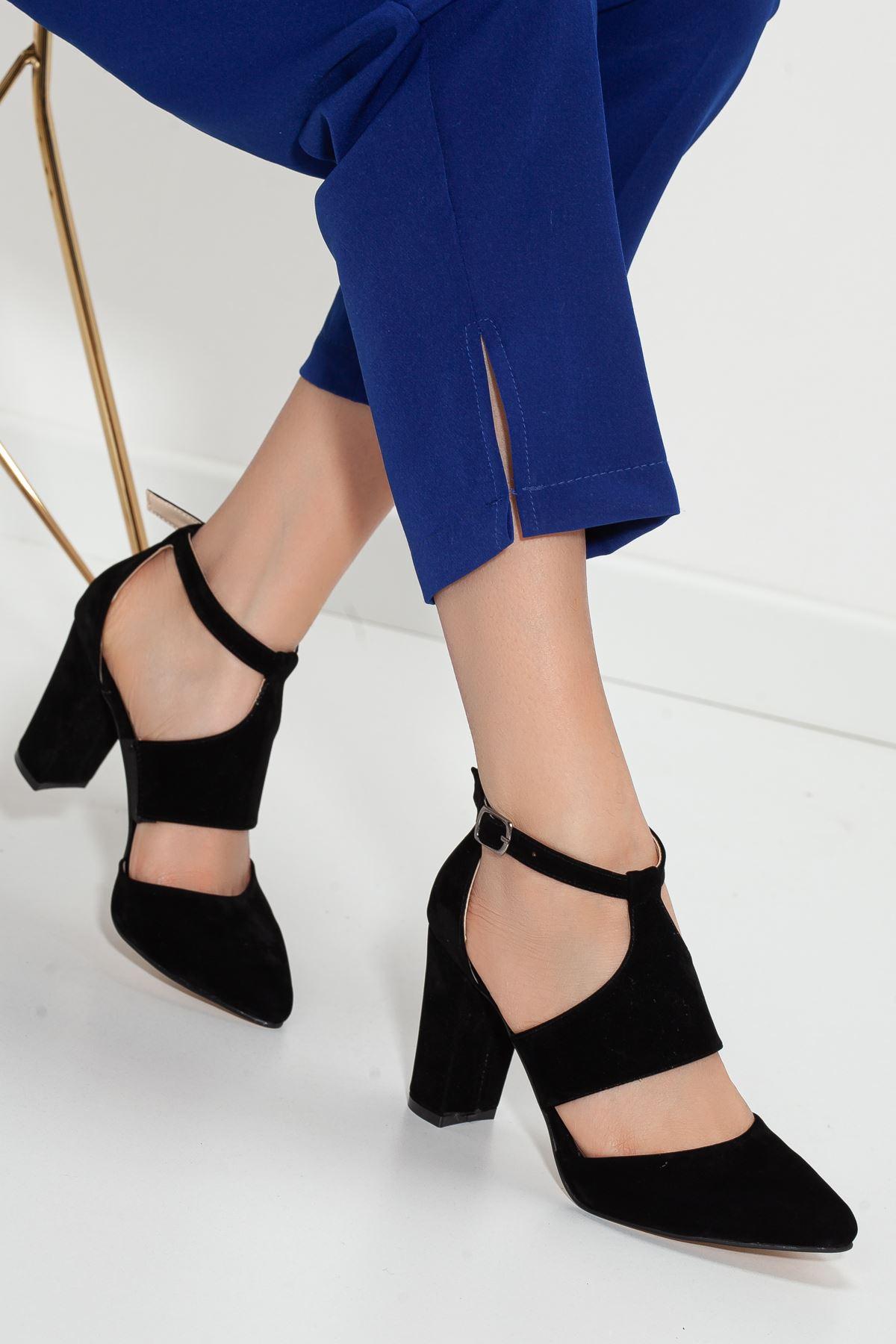YUBERTA topuklu süet ayakkabı Siyah