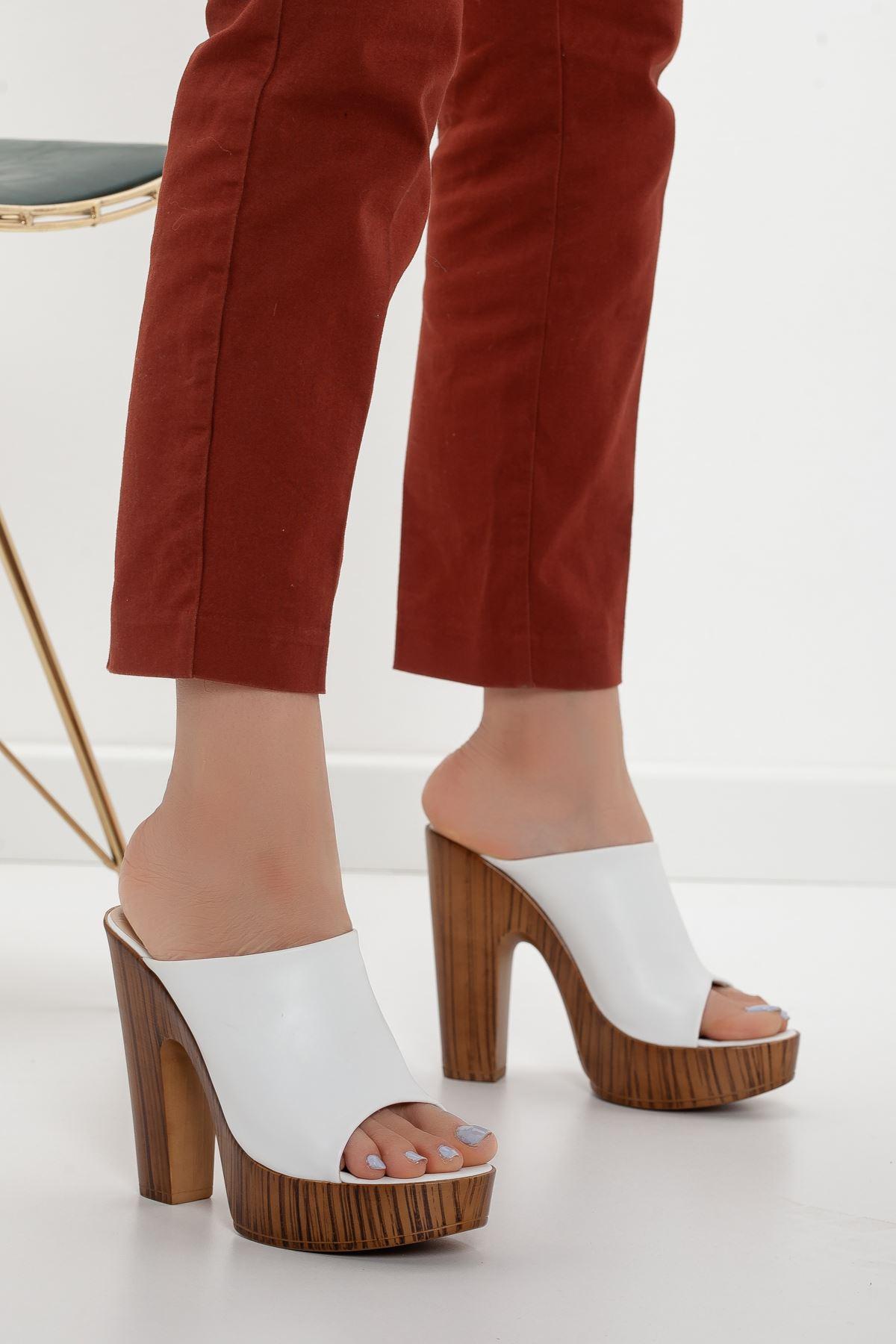 la notte platform topuklu cilt ayakkabı Beyaz