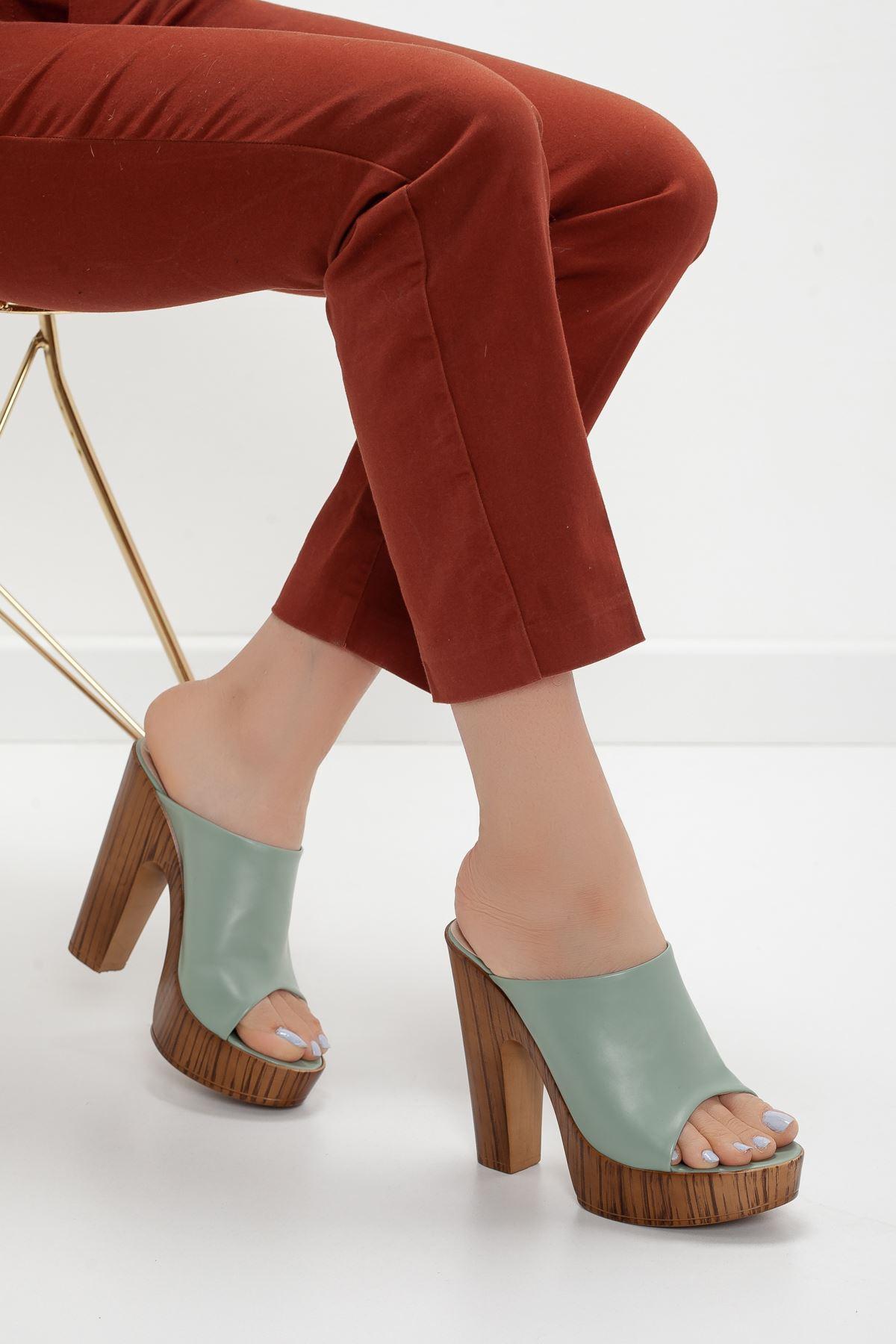 la notte platform topuklu cilt ayakkabı Yeşil