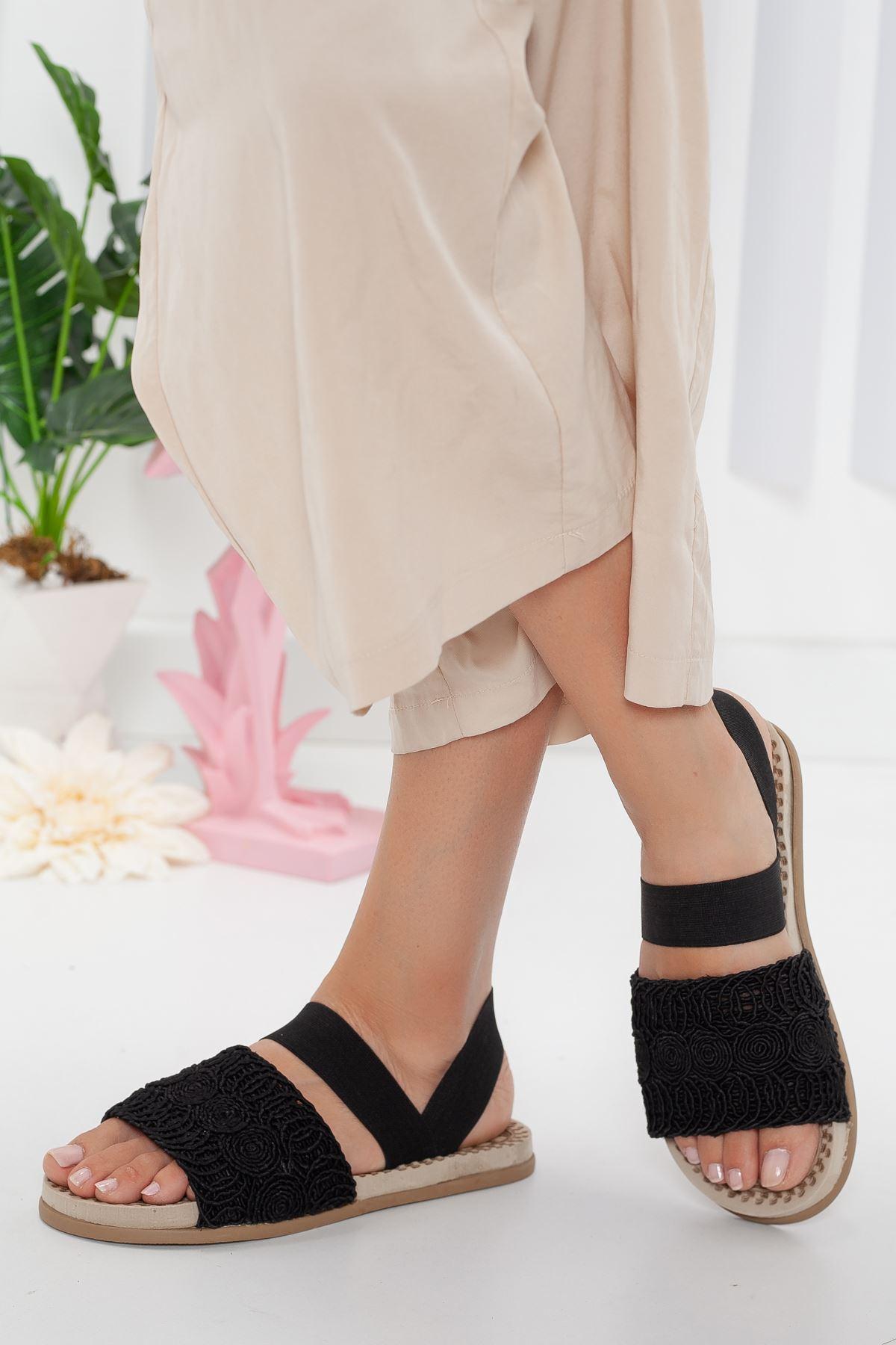 simone sandalet terlik Siyah