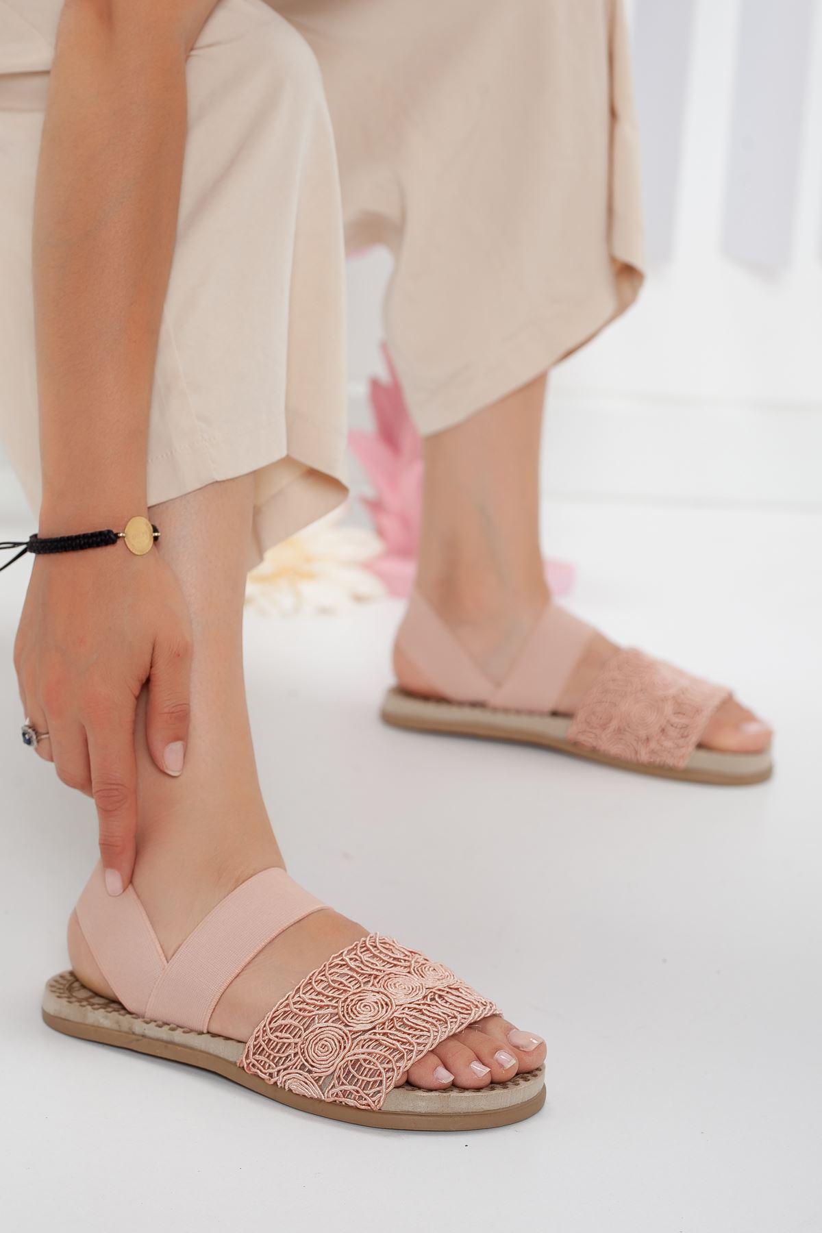 simone sandalet terlik Pudra