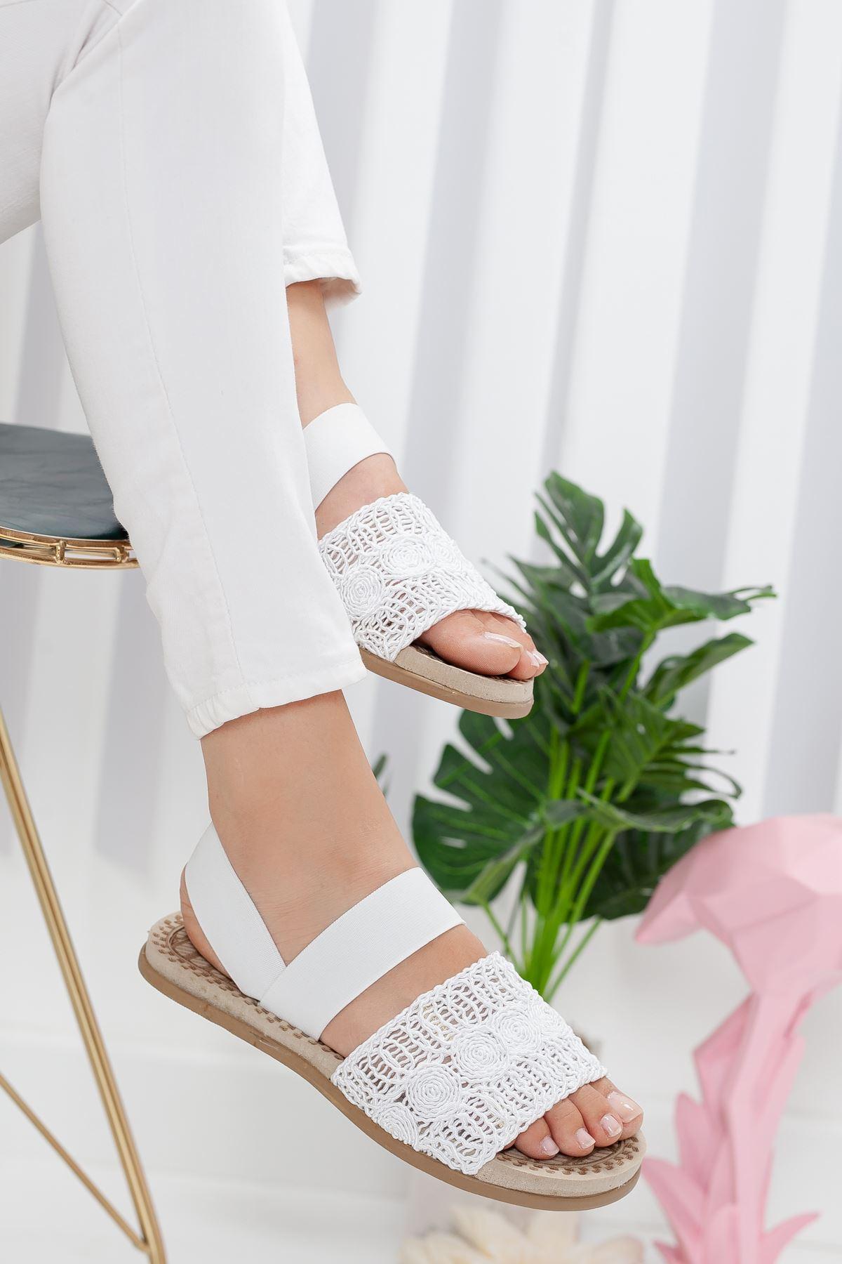 simone sandalet terlik Beyaz