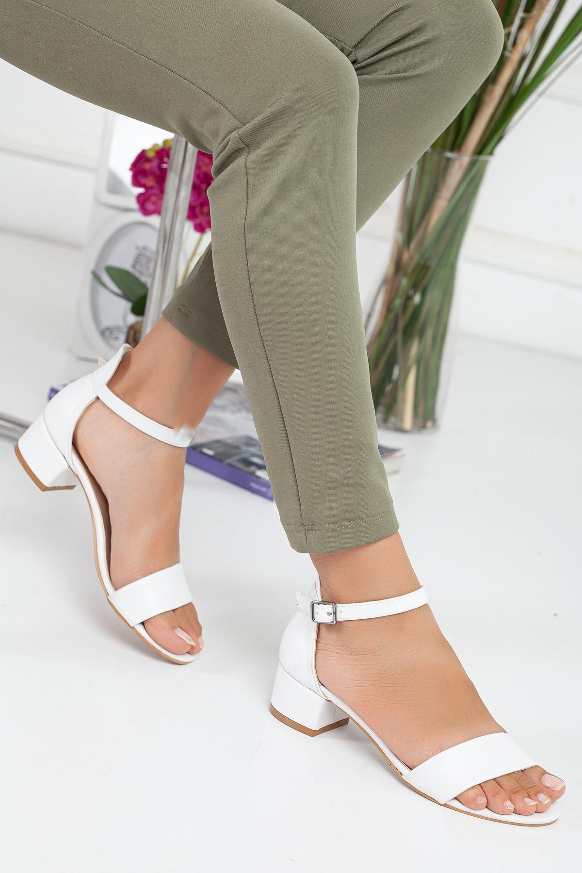 LORA tek bant topuklu ayakkabı Beyaz